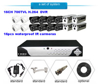 Wholesale 16CH CCTV DVR Video System H TVL Surveillance Security camera Day Night vision cameras Waterproof IR cameras system