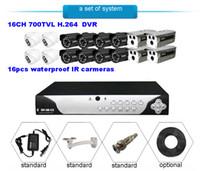 Wholesale 16CH CCTV DVR Video System H TVL Surveillance Security camera Day Night vision cameras Waterproof IR cameras system