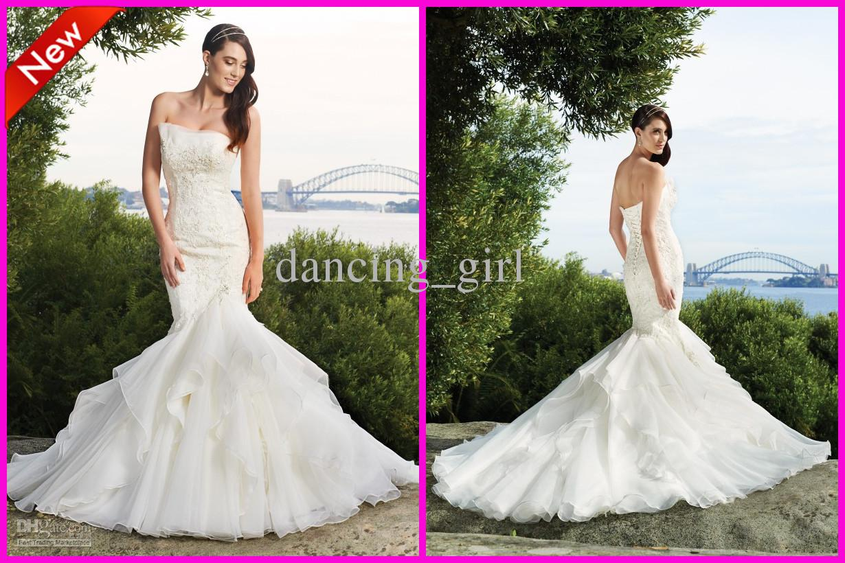 New arrival strapless mermaid organza wedding bridal for Mermaid wedding dresses under 500