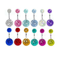 Wholesale Body Jewellery Belly Button Rings Disco Ball L Steel Belly Bar Rhinestones Navel Ring Body Jewelry BP002