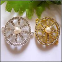 Wholesale 30PCS Silver Gold Tone Crystal Rhinestone Round Shape Sideways Plastic Pearl Connectors Beads DIY Bracelets Jewelry Findings