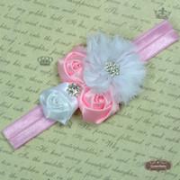 Wholesale Trail Order NEW Rhinestone Girl Chiffon Flowers With Triple mini rose With Satin Ribbon Flower Baby Headbands