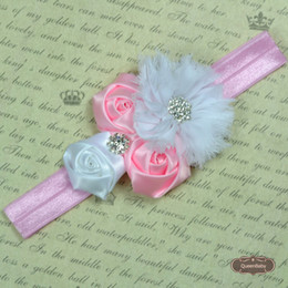 Trail Order NEW Rhinestone Girl Chiffon Flowers With Triple mini rose With Satin Ribbon Flower Baby Headbands 20pcs lot