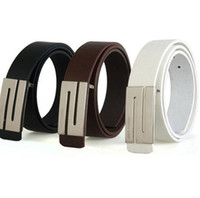 Wholesale 3Colors Stylish Premium Men s Faux Leather Shape Metal Buckle Silver Belt