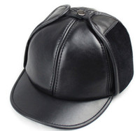 Wholesale mens real leather Ball Cap Leather hat Stylish Cap hats