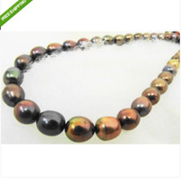 Wholesale stunning mm natural tahitian black red pearl necklace KG
