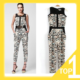 Wholesale 2013 New Women s Brand Design Geometric Patern Printed Color Stitching Tank Jumpsuit Ninth Pants S M L D1033 Abib