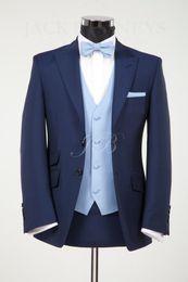 Wholesale Custom made New Groom Tuxedos Best man Wedding Groomsman Suit Groomsman Bridegroom Suits Jacket Pants Tie Vest
