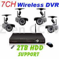 Wholesale H CH Digital Wireless DVR Kit with ch wireless signal input and ch wired signal input IR waterproof cameras Network DVR Camera Kit