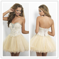 Wholesale Sweetheart Ball Gown Champagne Short Mini Prom Dresses Lace Applique Beaded Homecoming Dress