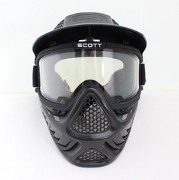 Drss Safty Airsoft Paintball Tactical Full Face Mask With Goggle Second Style Black(BK)