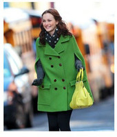 Women Middle_Length Polyester,cashmere Autumn Winter New Fashion Women's Outwear European and American style Star style Fruit green Cloak Double-breasted Coats