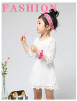 Wholesale NWOT Kids Princess Elegant Girl s Dressy Dress Spoon Neck Sleeve Daisy Guipure Crochet Lace Dress C0077