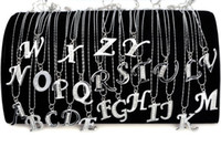 initial charms - 26pcs A Z Letter Charm Initial Alphabet Silver Crystal Pendant Necklaces W Chain JN08001