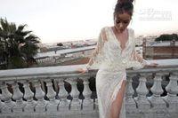 Wholesale Hot Wedding Dresses Sexy Mermaid V Neck Long Sleeves Short Train Lace Pearls Zipper Split Wedding Gown ID1203