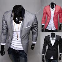 Men Waist_Length  Cotton Blend Men Slim Fit Jacket Blazer Coat Shirt Stylish 3 Colors US Size XS S M L 13590