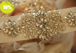 Wholesale 2014 Gorgeous Bridal Sash Crystal Beads Floral Shinning Wedding Dress Belt Wedding Accessory