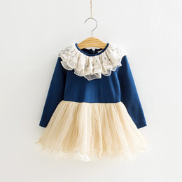 Wholesale 2013 Autumn Girls lace collar dress girl tutu dress mini dress girls long sleeve dress cheap dresses cotton chiffon skirts