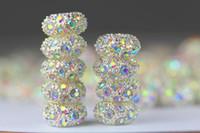 al por mayor separador de metal perlas de diamantes de imitación-100pcs / lot del tono de plata con accesorios de cadena AB Crystal Rhinestone Rondelle del espaciador de metal Cuentas Europeo Fit pulsera del encanto / Serpiente