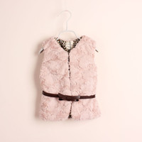 Wholesale New fashion Baby girls Faux waistcoat kids girl winter warm Vests Pink waistcoats children s V necked cardigan with leopard lining