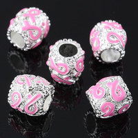 Alloy   100PCS LOT Wholesale Breast Cancer Awareness - Pink Enamel Ribbons - Silver Plated Charm Bead Fits EUROPEAN Bracelets Findings