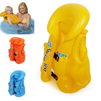 Cheap Blue Baby Children Float Swimming Aid Life Jacket Inflatable Swim Beach Vest S M LSize Baby Safe Water Toys