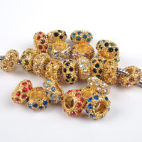 Wholesale 100PCS Metal Gold Plated with Multicolor Crystal Rhinestone Rondelle Spacer European Beads Fit Charm Bracelet Snake Chain