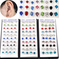 Wholesale Earrings Jewelry Mix Colors Faceted Round Crystal Silver Ear Stud Earrings JE20021 JE20023