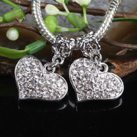 Wholesale 20pcs Silver tone Clear Crystal Rhinestone Heart Dangle Bead Fits European Charm Bracelets Chains amp Necklaces Jewelry Findings