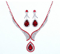 Wholesale Fashion Red Wedding Jewelry Sets Imitated Diamond Bridal Necklace and Earrings Dress Accessories For Woman