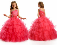 Spaghetti Beads Organza Beauty Ball Gown Spaghetti Straps Sweep Train Red Organza Cute Pageant Dresses For Little Girls Beads Sequins Tiered Flower Girl Dresses