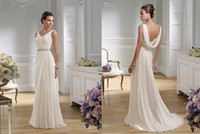 Summer Beach Wedding Dresses Sexy V Neck Ruffle Sash Floor- L...