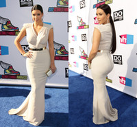 Wholesale 2013 Sexy Celebrity Dresses V Neck Satin Summer Cap Sleeves Kim Kardashian Mermaid Evening Gown with Gold Belt BO1417