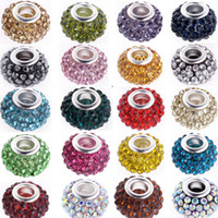 Wholesale 100PCS Multicolor Pave Crystal Rhinestone Charm European Beads Big Hole Spacer Rondelle Beads Fit Charm Bracelets Snake Chains