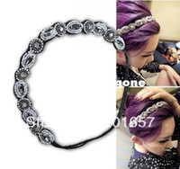 Wholesale 2013 fashion new handmade beads and crystal headband Elastic hairbands headwear star s favorite korea style fashion accessories A076