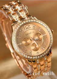 Wholesale new arrive Geneva watch European and American style newest fashion rose gold watches Ladies Diamond flanger alloy geneva watch