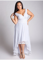 Wholesale Hottest Gorgeous Sexy Sash Bow High Low Backless Floor length Deep V neck White Lace Plus Size Wedding Dress