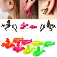 Wholesale New Retro Piece Rock Punk Cute Style Unicorn Horse Ear Stud Cuff Clip Earring E276 E316