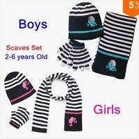 boys and girls Nursery Decor 24 Months & Up Free Shipping New Fashion Boys&Girls Stripe Winter Autumn Children Scarves Set Baby Kids 3 Piece scarf + hat + gloves Xmas Gift