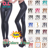 Women Skinny,Slim Long Newest Sexy Women Faux Leather High Waist Stretch Leggings Pants Tights XS S M L 20 Colors #OL002