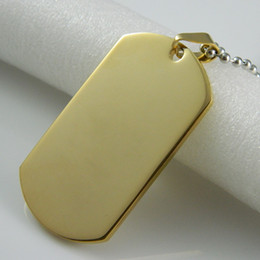 Retail 316L Stainless Steel Gold Dog Tags Pendant Necklace For Man Fashion Military Dog Tags Army Pendant