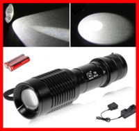 Wholesale 2000 lumen high power flashlight E7 CREE T6 Mode Zoomable led flash light waterproof for camping tactical bicycle Battery charger