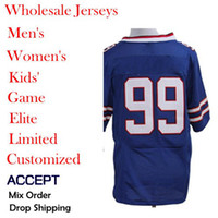 Men Short Polyester American football Jerseys,99 Marcell Dareus,Blue,Elite Jerseys ,Size 40-56,Allow mix order,Wholesale.