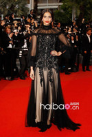 Reference Images A-Line Sleeveless Sonam Kapoor's black noble dress of Cannes Film Festival_Shop Online