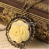 Chirstmas Fashion Necklaces Min.order is $5 (mix order)Free Shipping,Elegant Vintage Necklace,Cream Rose Disk Pierced Lace Chain, (N026)