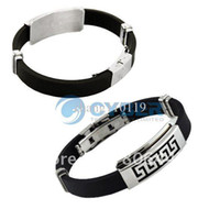 Wholesale Men Style Silicon Titanium Steel Bracelet Wristband Curb Chains