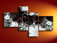 Wholesale Hand painted Hi Q modern wall art home decorative abstract flower oil painting on canvas Dreamlike White Chrysanthemum flower4pcs set framed