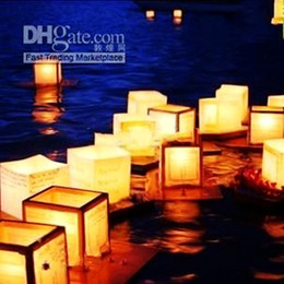 13*13 cm Floating Water Chinese Wishing Lanterns Paper Candle Lucky Light Lamp for Wedding Party Supplies Free Shipping