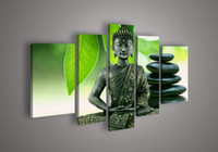 Wholesale Hand painted Hi Q wall art home decorative oil painting on canvas Religious Sakyamuni Buddha statue Green leaves cobblestone set framed