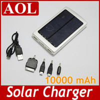Wholesale 10000mAh Solar Panels Battery Charger Portable USB Solar Power Bank For Mobile Phone MP3 MP4 PDA